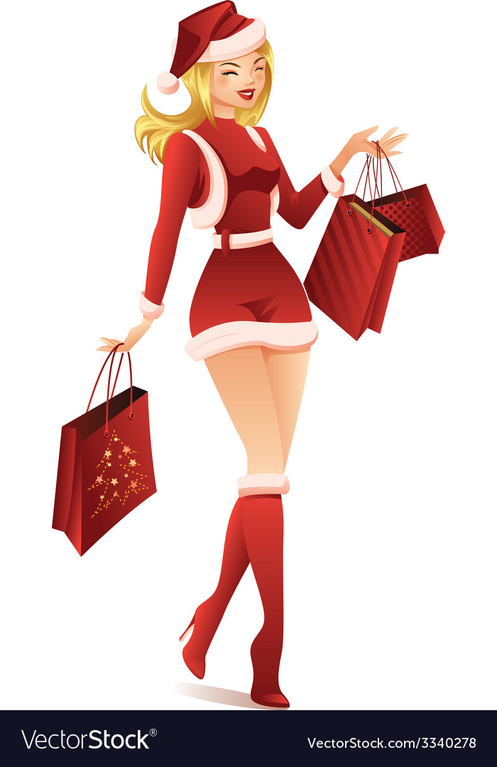Woman shopping for christmas vector   Price: 3 Credit (USD $3)