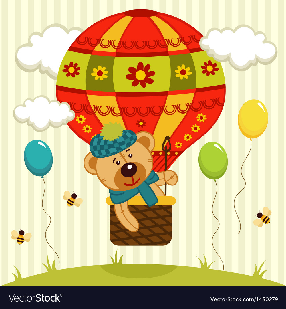 Bear flies on air balloon vector | Price: 3 Credit (USD $3)