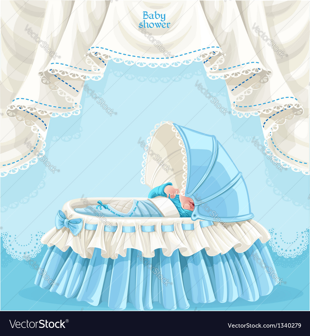 Blue baby shower card with little baby in the crib vector | Price: 1 Credit (USD $1)