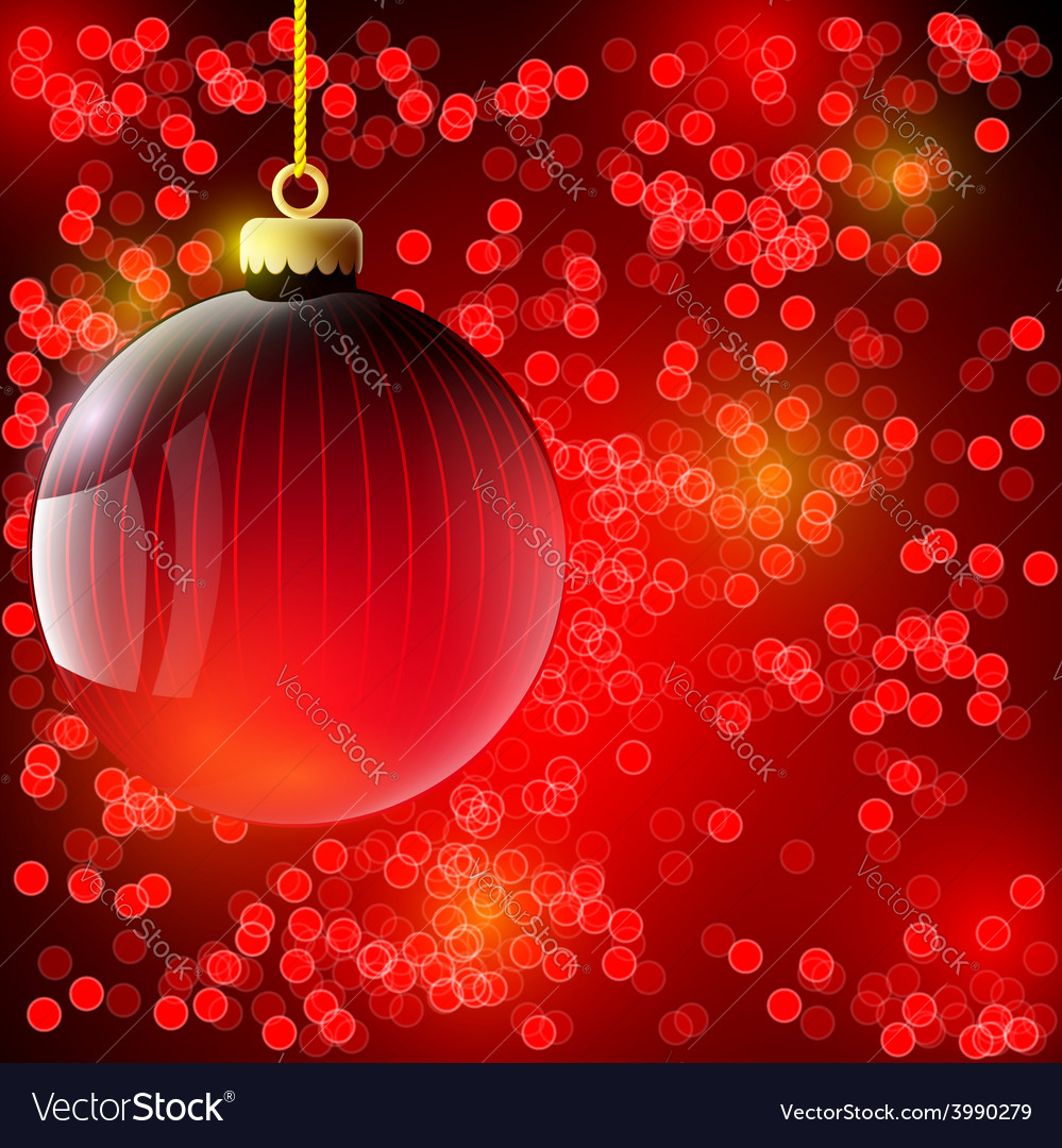 Christmas background with red ball vector | Price: 1 Credit (USD $1)
