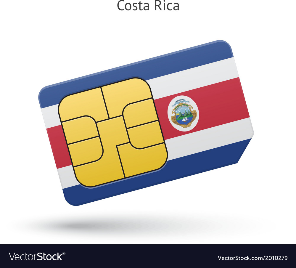 Costa rica mobile phone sim card with flag vector | Price: 1 Credit (USD $1)