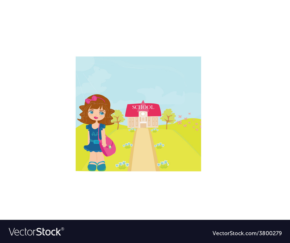 Happy little girl going to school vector | Price: 1 Credit (USD $1)