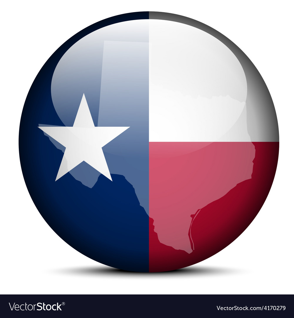 Map on flag button of usa texas state vector | Price: 1 Credit (USD $1)