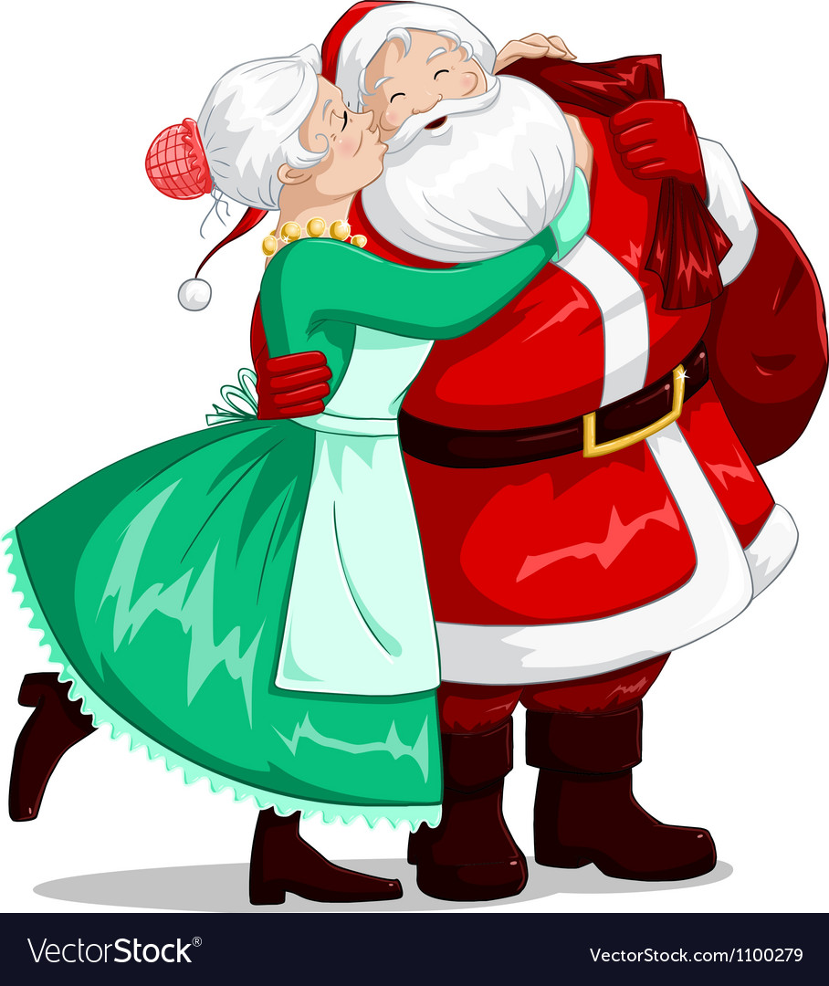 Mrs claus kisses santa on cheek and hugs vector | Price: 3 Credit (USD $3)