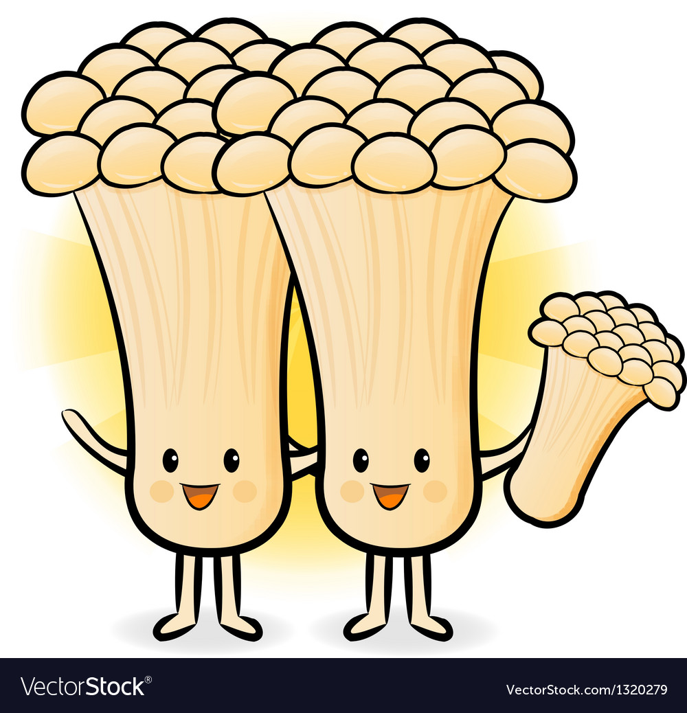 Mushroom couple to promote vegetable selling vector | Price: 1 Credit (USD $1)