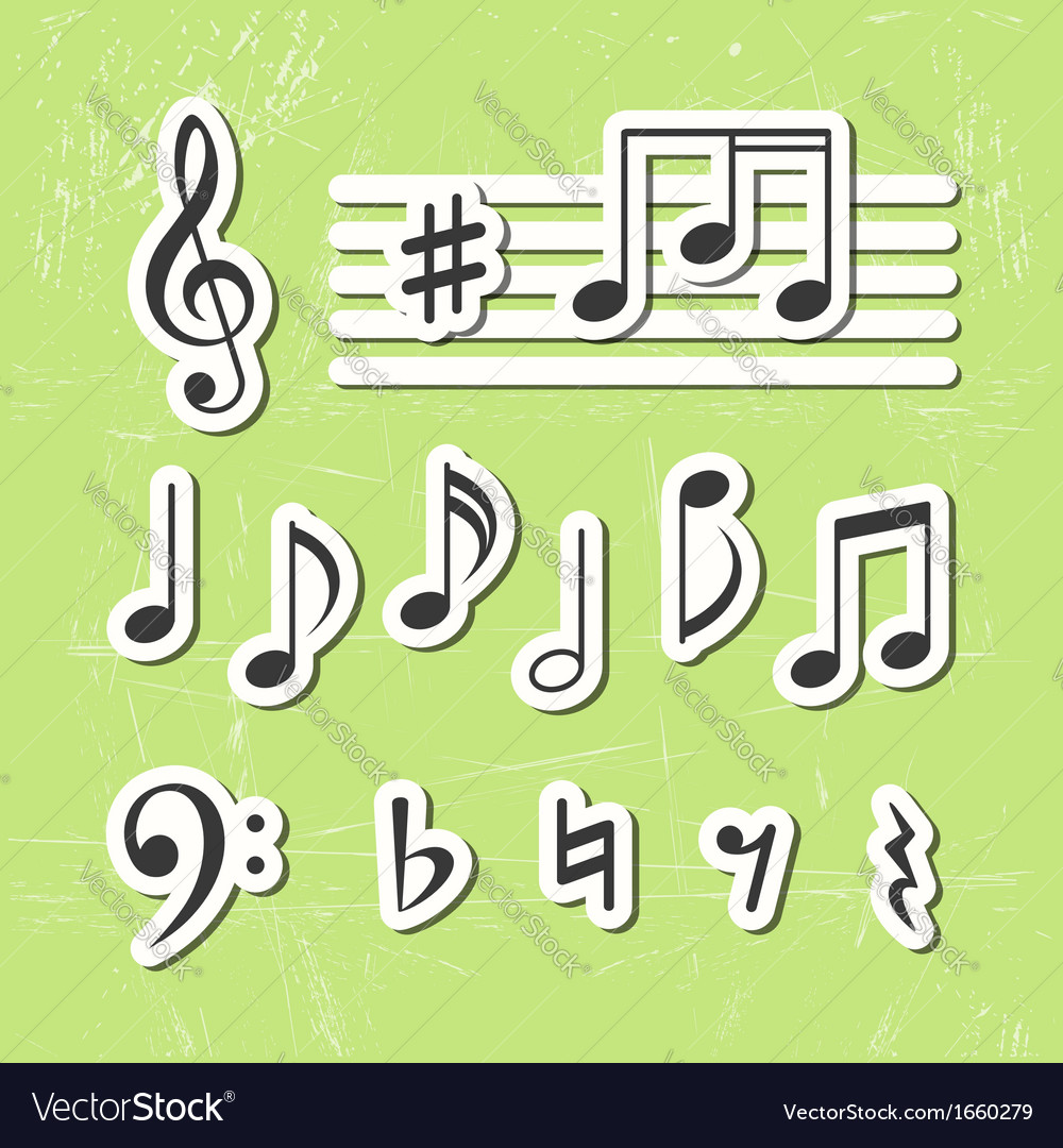 Music notes icons vector | Price: 1 Credit (USD $1)