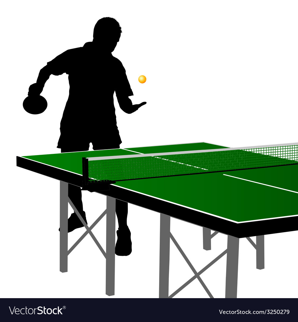 Ping pong player silhouette nine vector | Price: 1 Credit (USD $1)