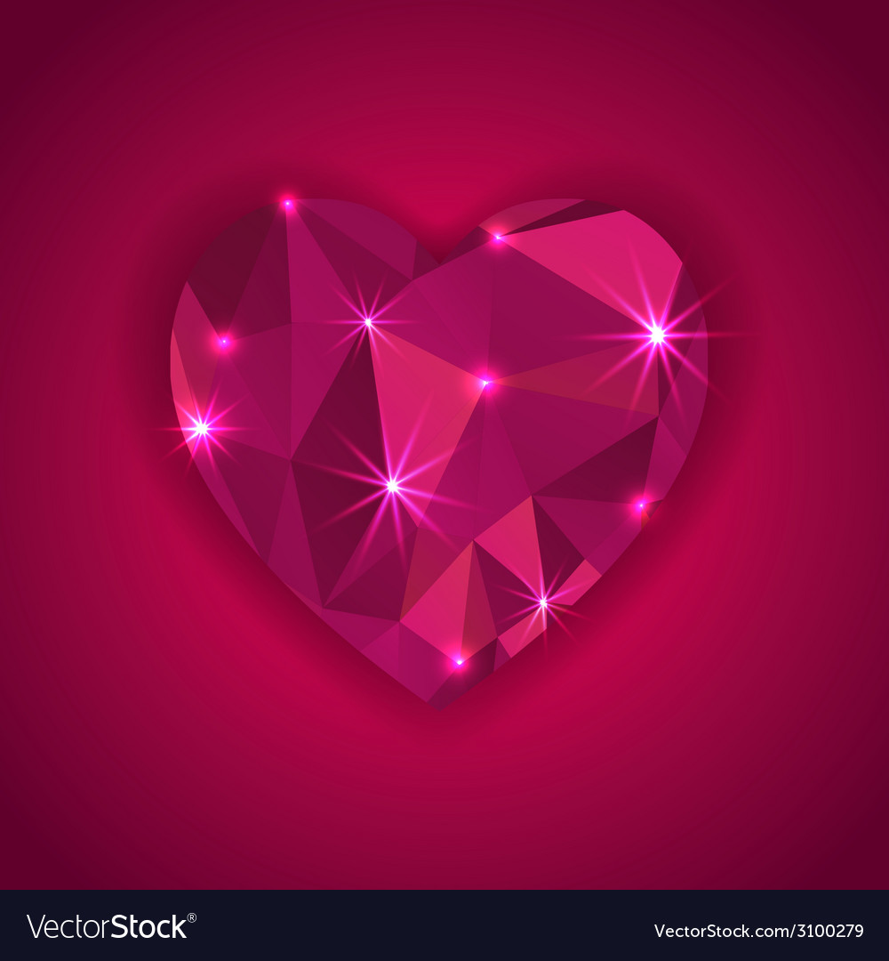 Red diamond heart shape with star lights effect vector | Price: 1 Credit (USD $1)