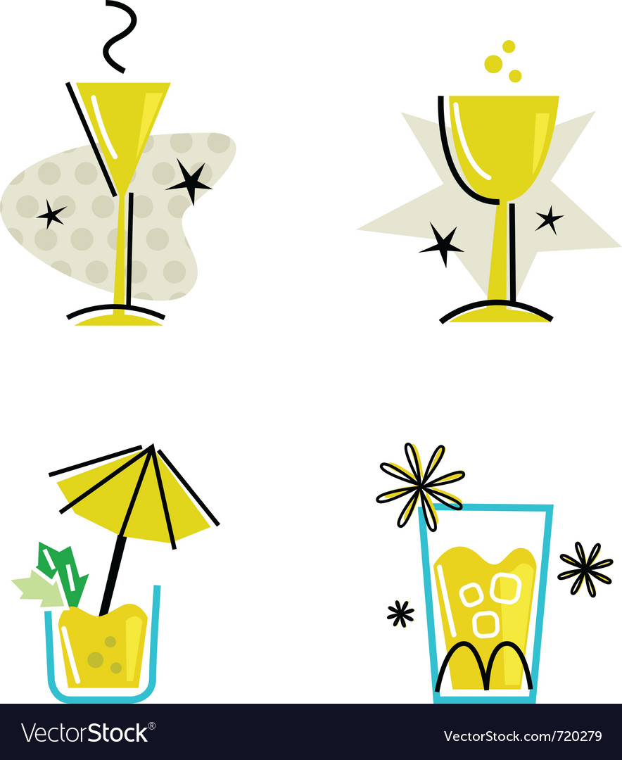 Retro drinks collection vector | Price: 1 Credit (USD $1)