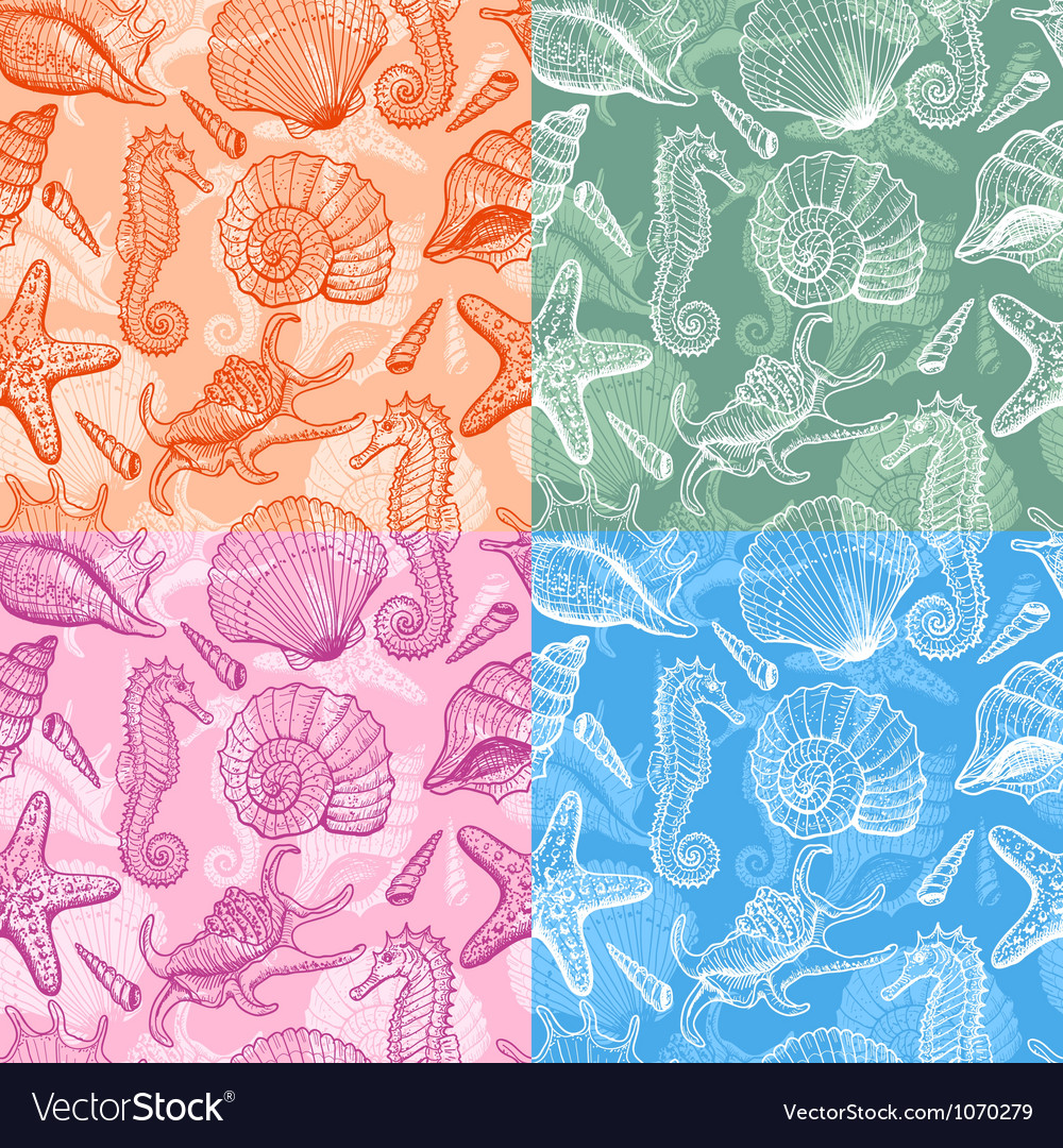 Sea shells hand drawn seamless pattern vector | Price: 1 Credit (USD $1)