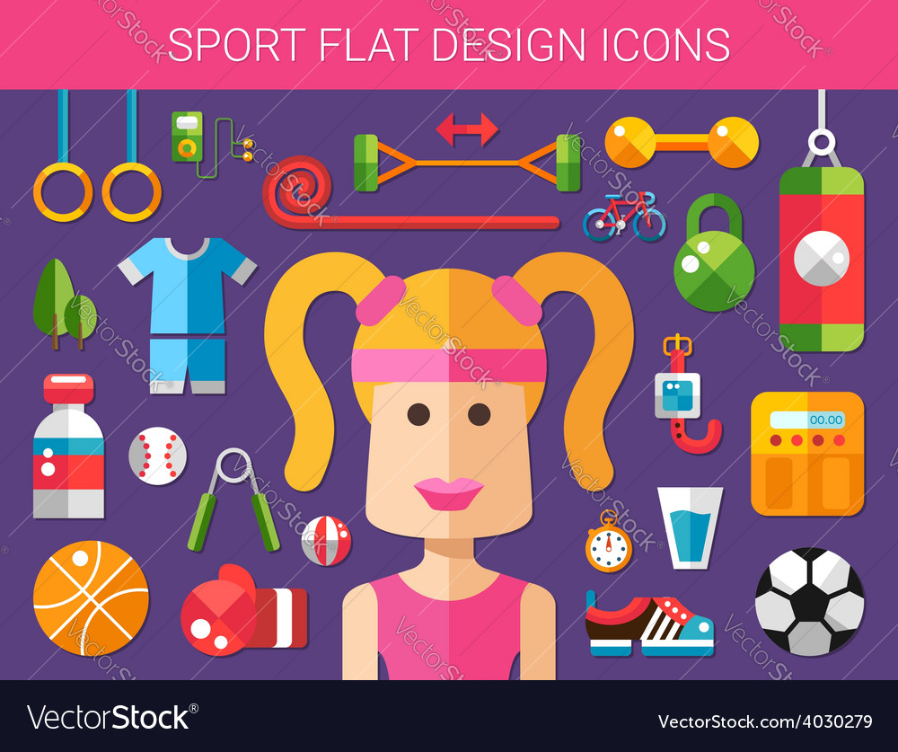 Set of modern flat design sport fitness and vector | Price: 1 Credit (USD $1)