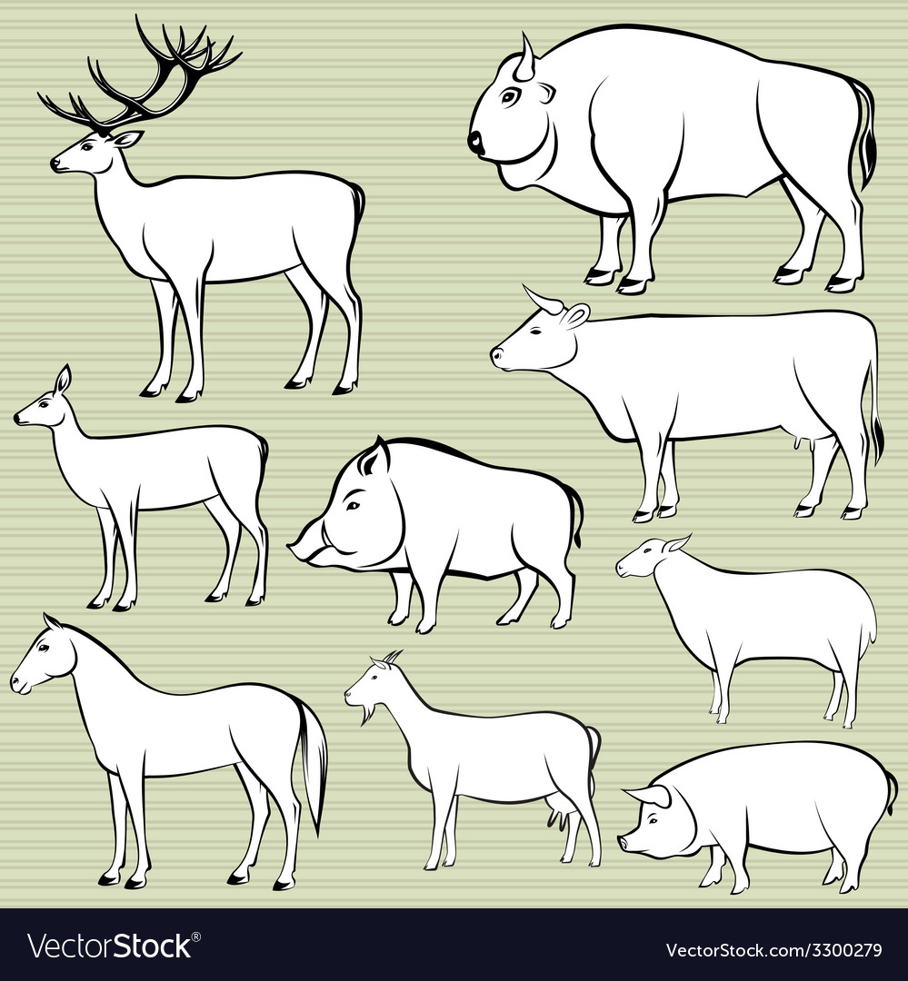 Set of monochrome wild and domestic animals for de vector | Price: 1 Credit (USD $1)