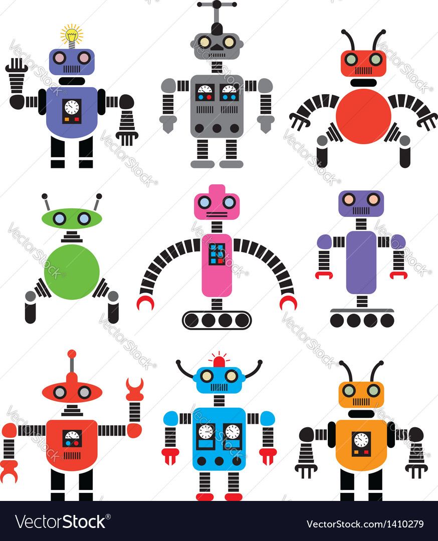 Set of robots vector | Price: 1 Credit (USD $1)