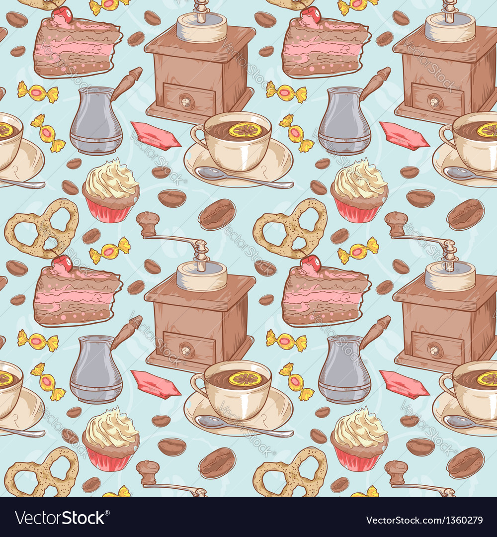 Sweet coffee and candies seamless pattern vector | Price: 3 Credit (USD $3)