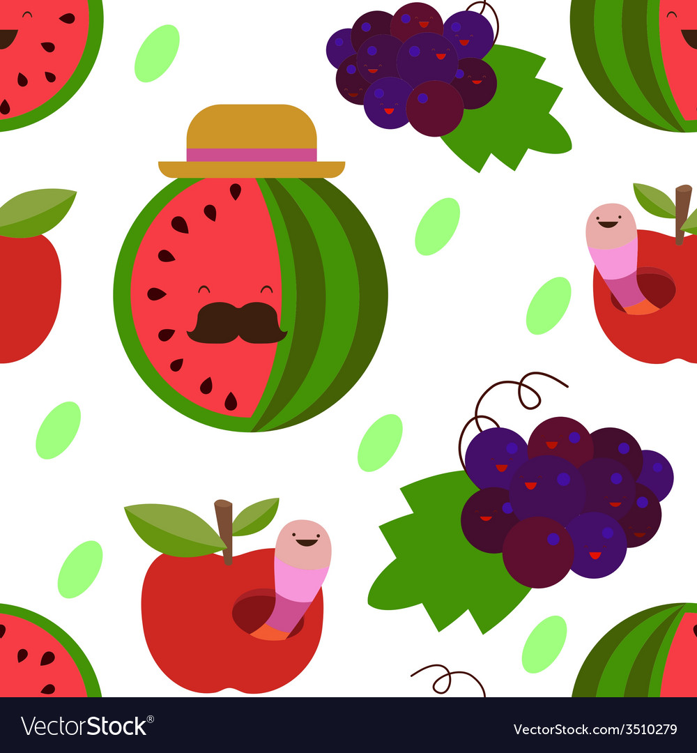Water melon and grapes seamless print vector | Price: 1 Credit (USD $1)