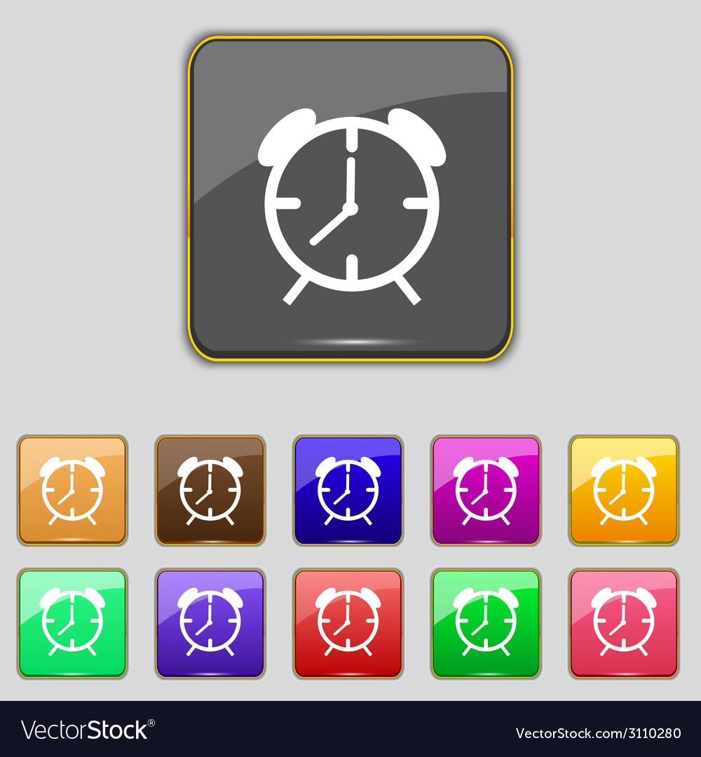 Alarm clock sign icon wake up alarm symbol set of vector   Price: 1 Credit (USD $1)