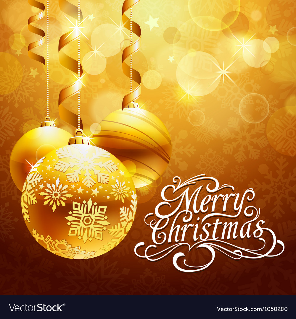 Christmas background with gold balls vector | Price: 1 Credit (USD $1)