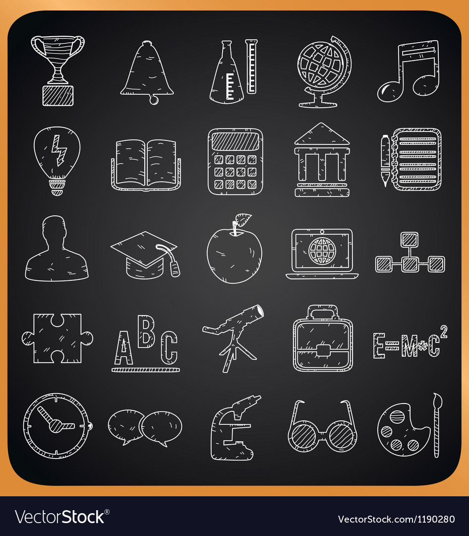 Education hand-drawn icons on blackboard vector | Price: 1 Credit (USD $1)