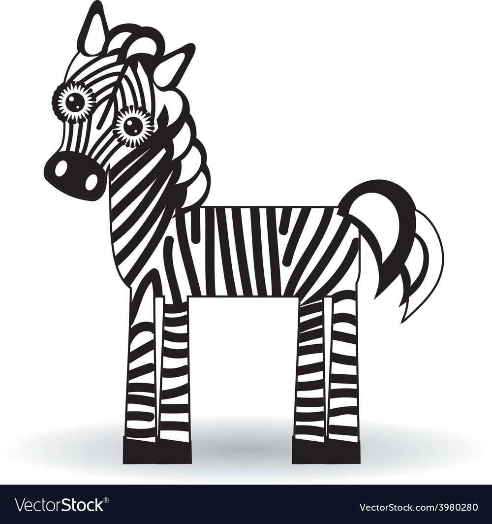 Funny zebra on white background vector | Price: 1 Credit (USD $1)