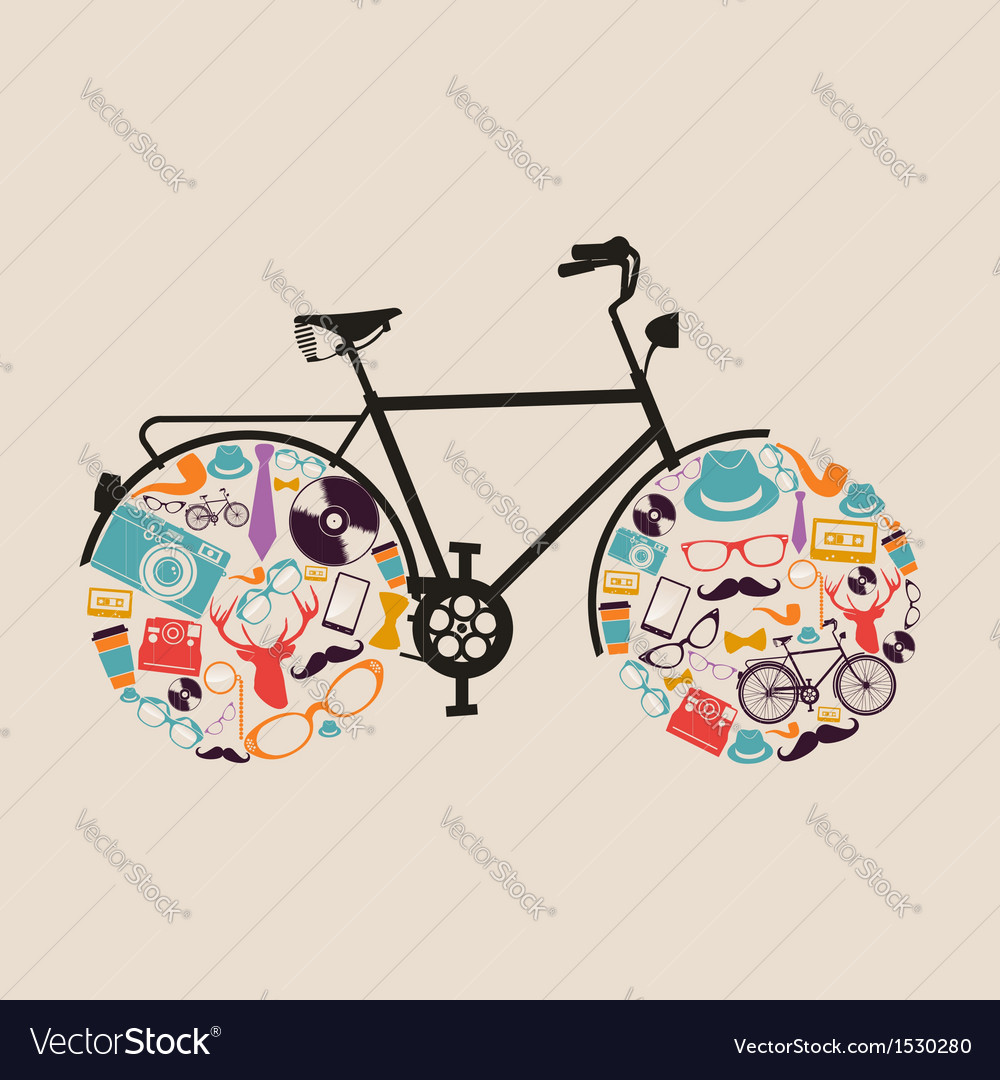 Vintage hipsters icons bike vector | Price: 1 Credit (USD $1)