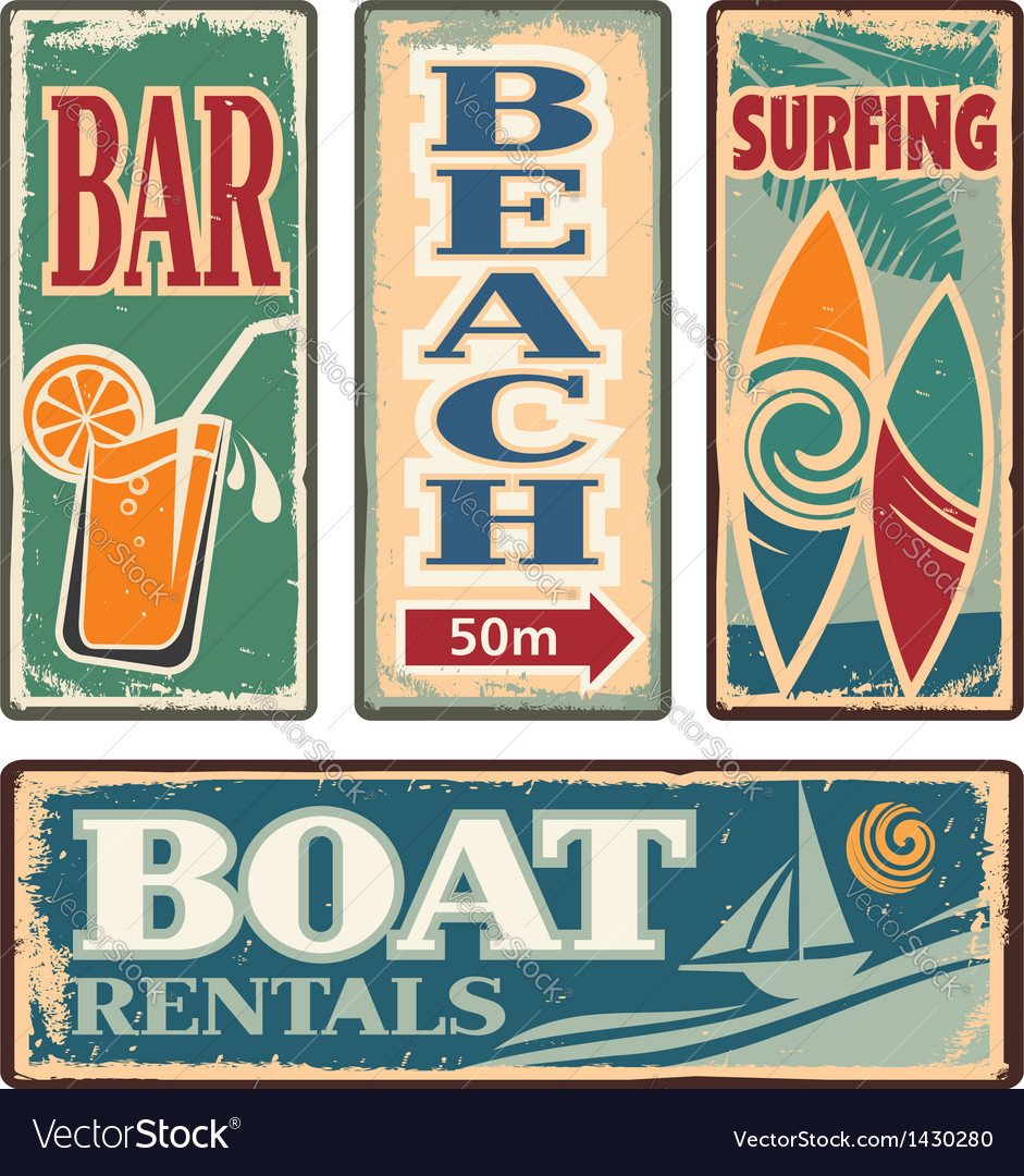 Vintage summer holiday signs vector | Price: 3 Credit (USD $3)