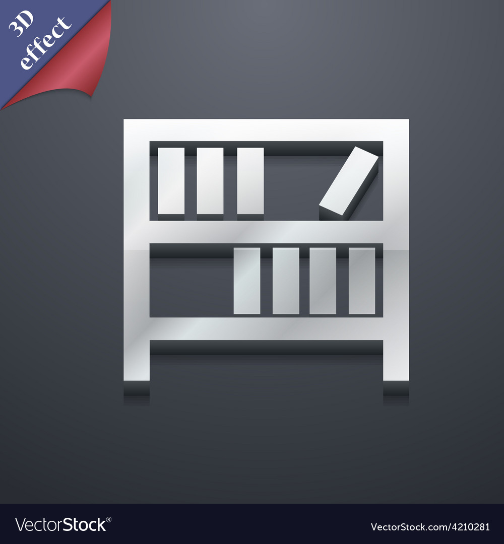 Bookshelf icon symbol 3d style trendy modern vector | Price: 1 Credit (USD $1)