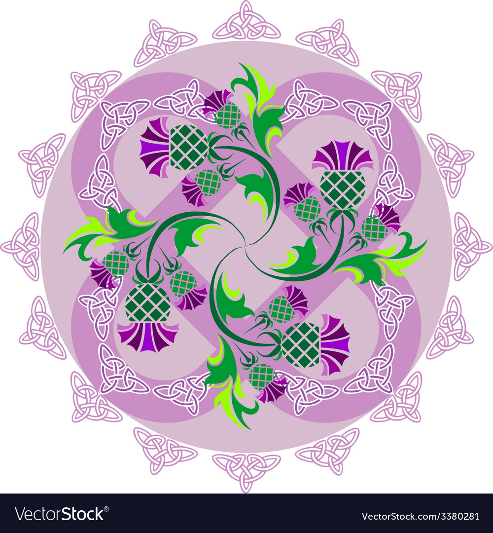 Celtic symbols ornament with flowers thistle and vector | Price: 1 Credit (USD $1)