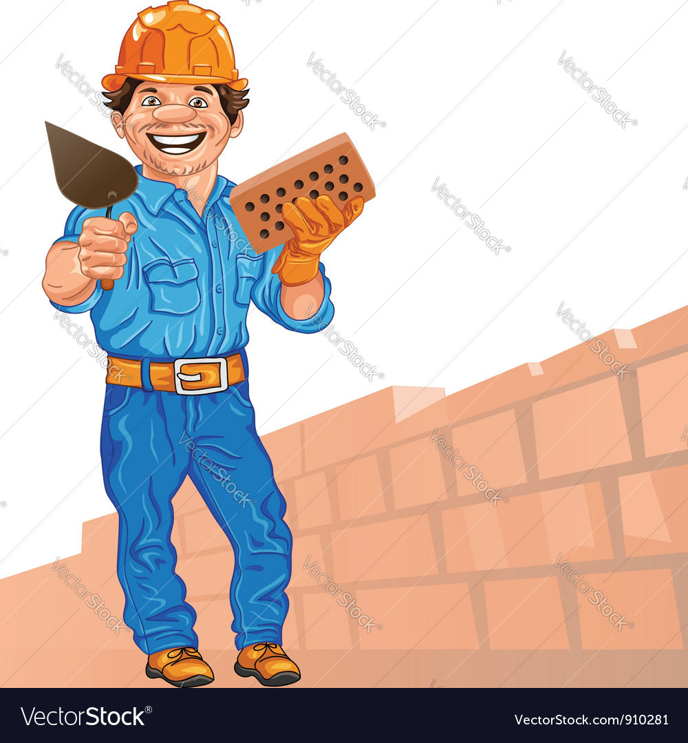 Cheerful bricklayer with brick and trowel vector | Price: 3 Credit (USD $3)