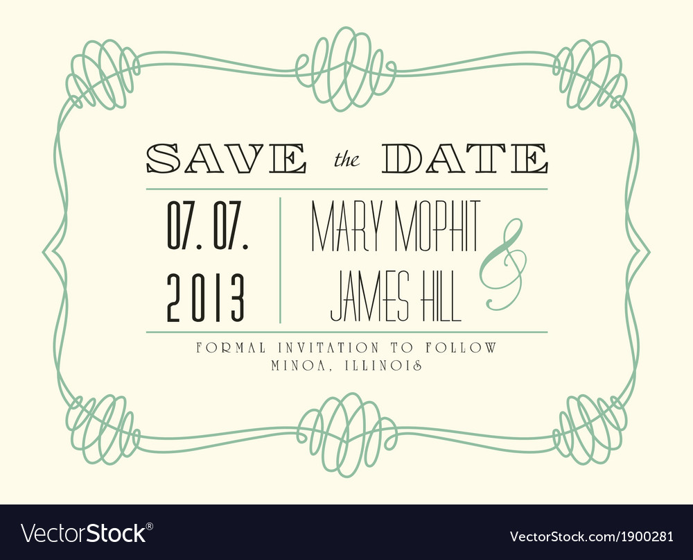 Classic save the date vector | Price: 1 Credit (USD $1)