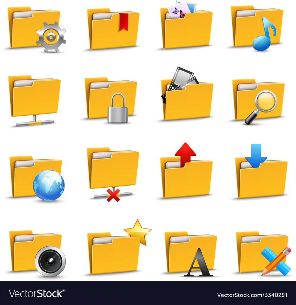 Folders icons set vector | Price: 1 Credit (USD $1)