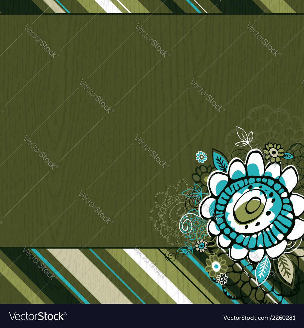 Hand draw flowers on green grunge background vector | Price: 1 Credit (USD $1)