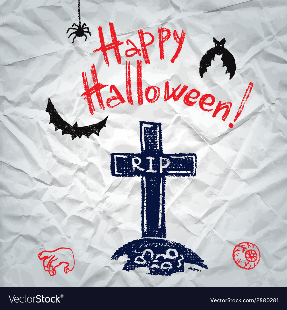 Happy halloween greeting card with a grave vector | Price: 1 Credit (USD $1)