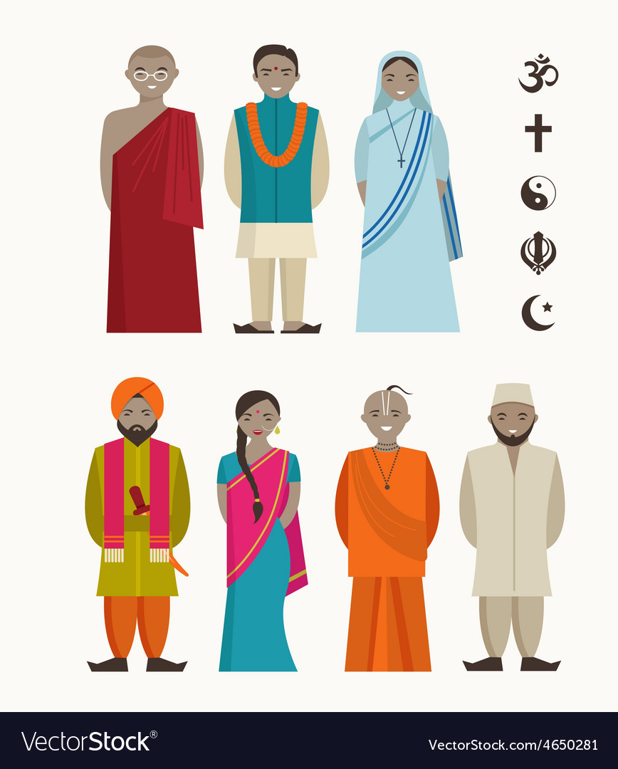 Indian people - different indian religious vector | Price: 1 Credit (USD $1)