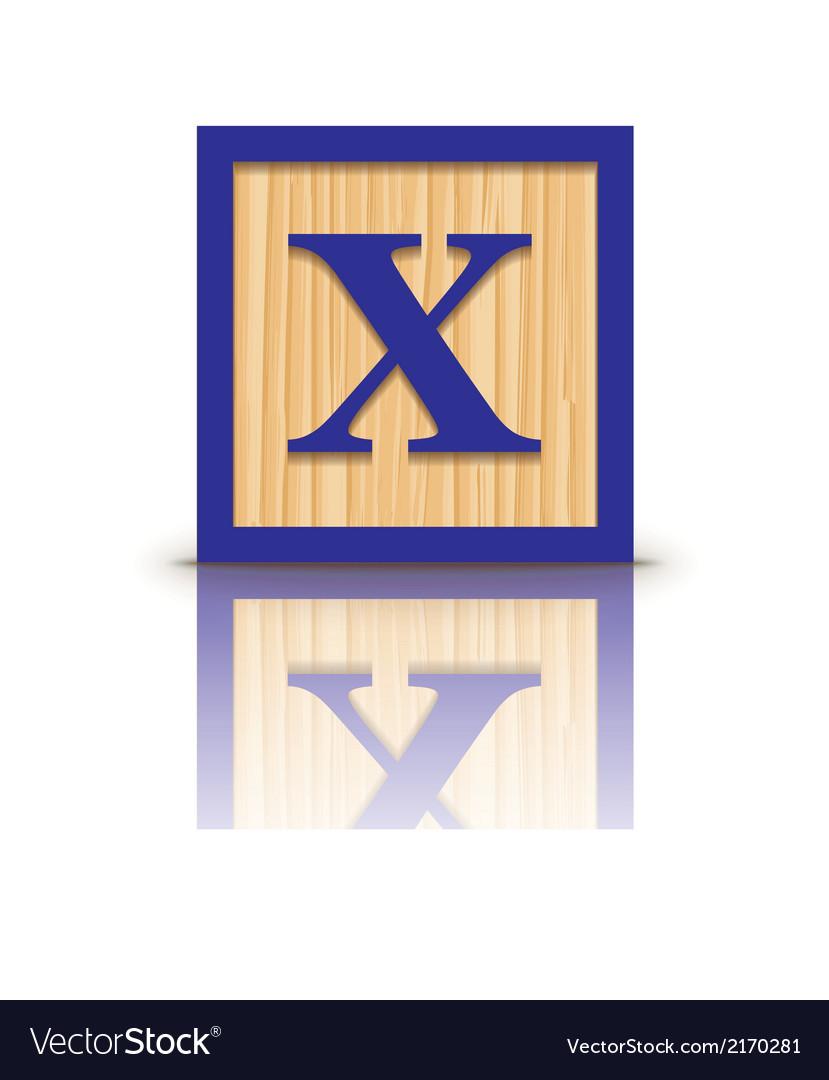Letter x wooden alphabet block vector | Price: 1 Credit (USD $1)