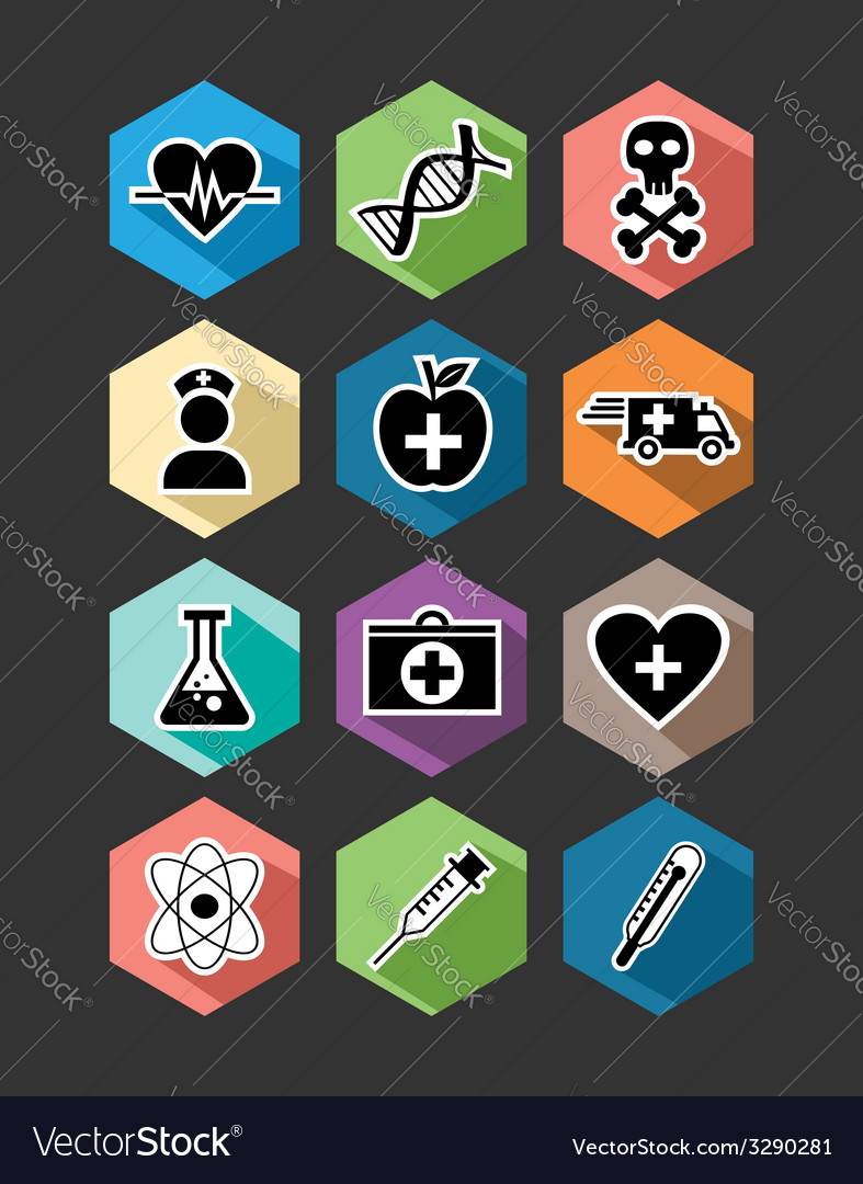 Medical healthcare flat icons set design vector | Price: 1 Credit (USD $1)