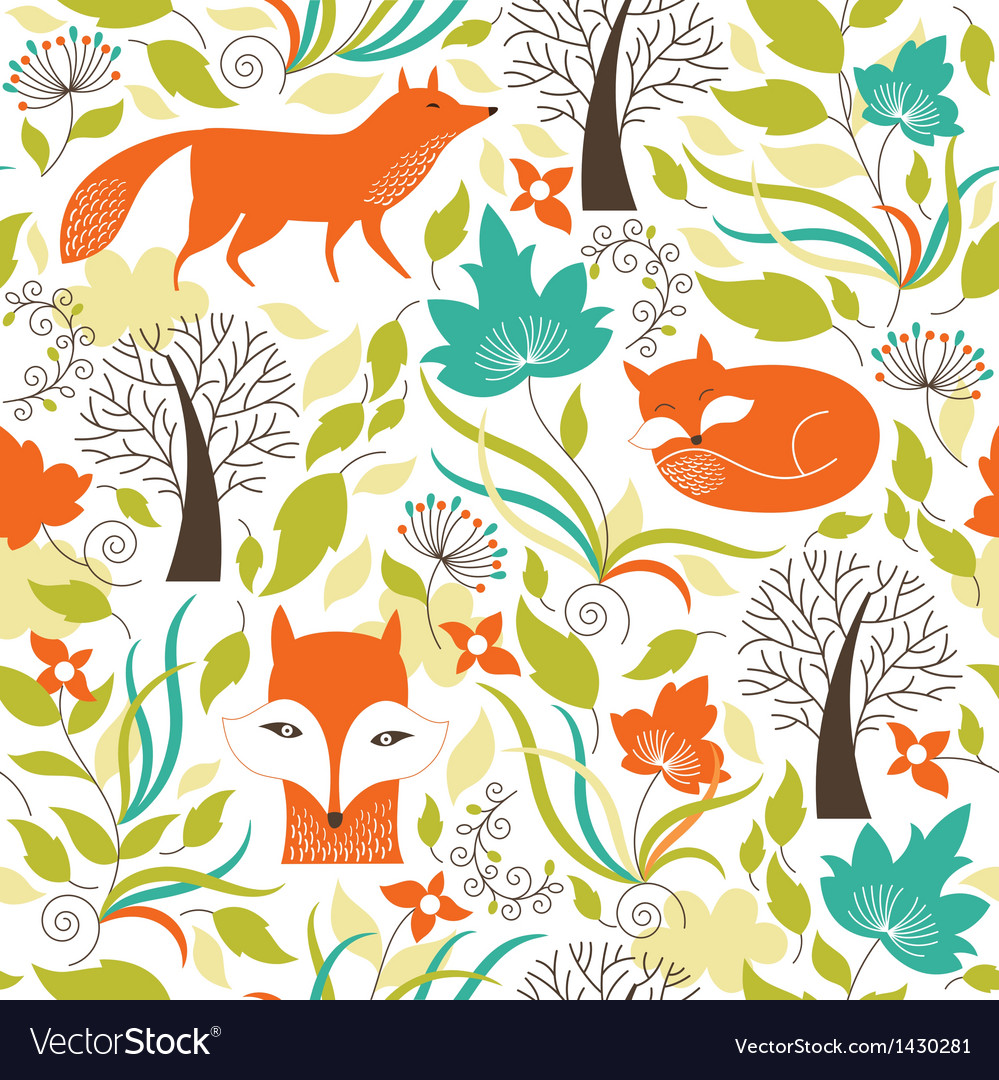 Seamless pattern with a foxes vector | Price: 3 Credit (USD $3)