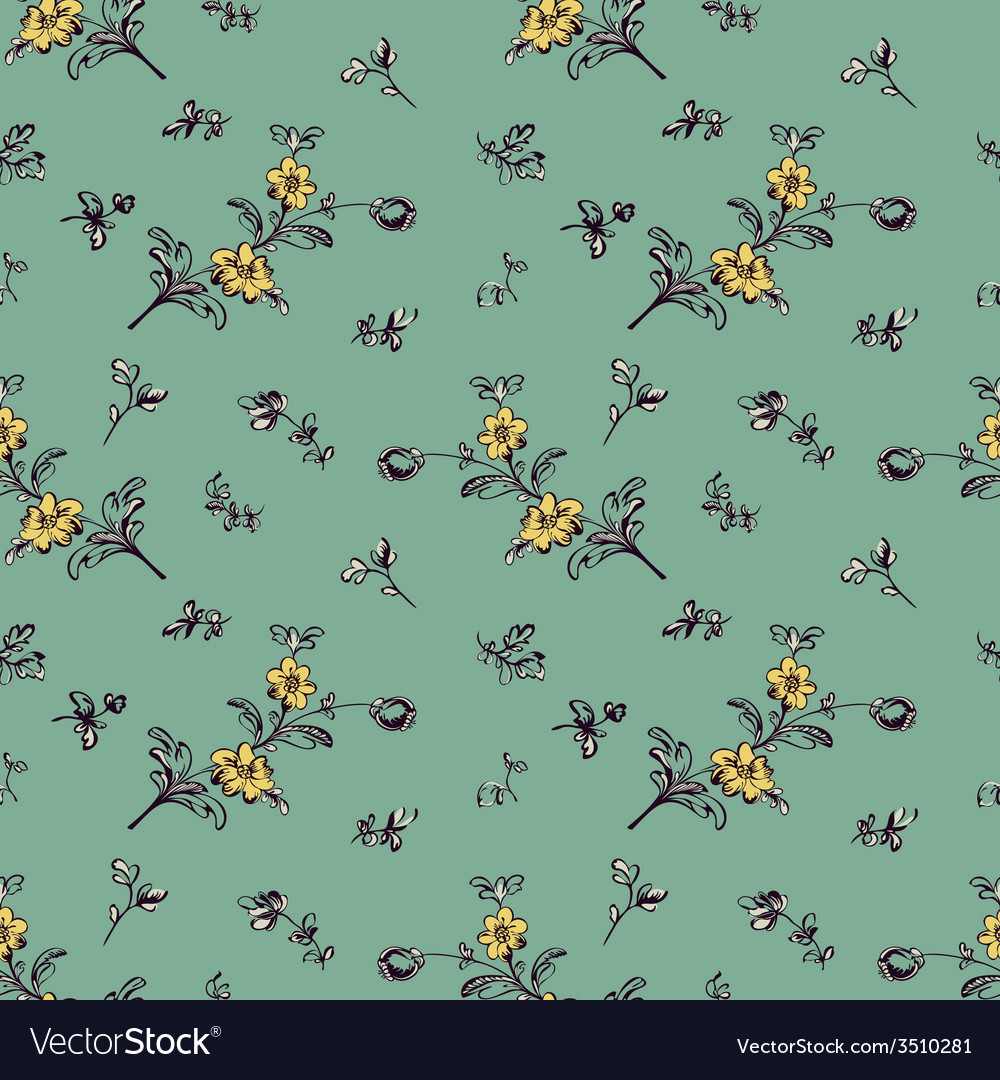 Seamless pattern yellow flower green vector | Price: 1 Credit (USD $1)
