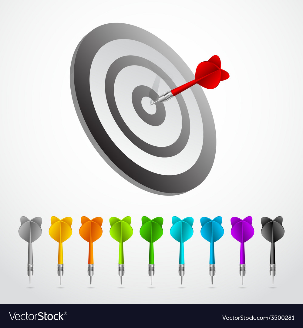 Set of darts color game concept vector   Price: 1 Credit (USD $1)