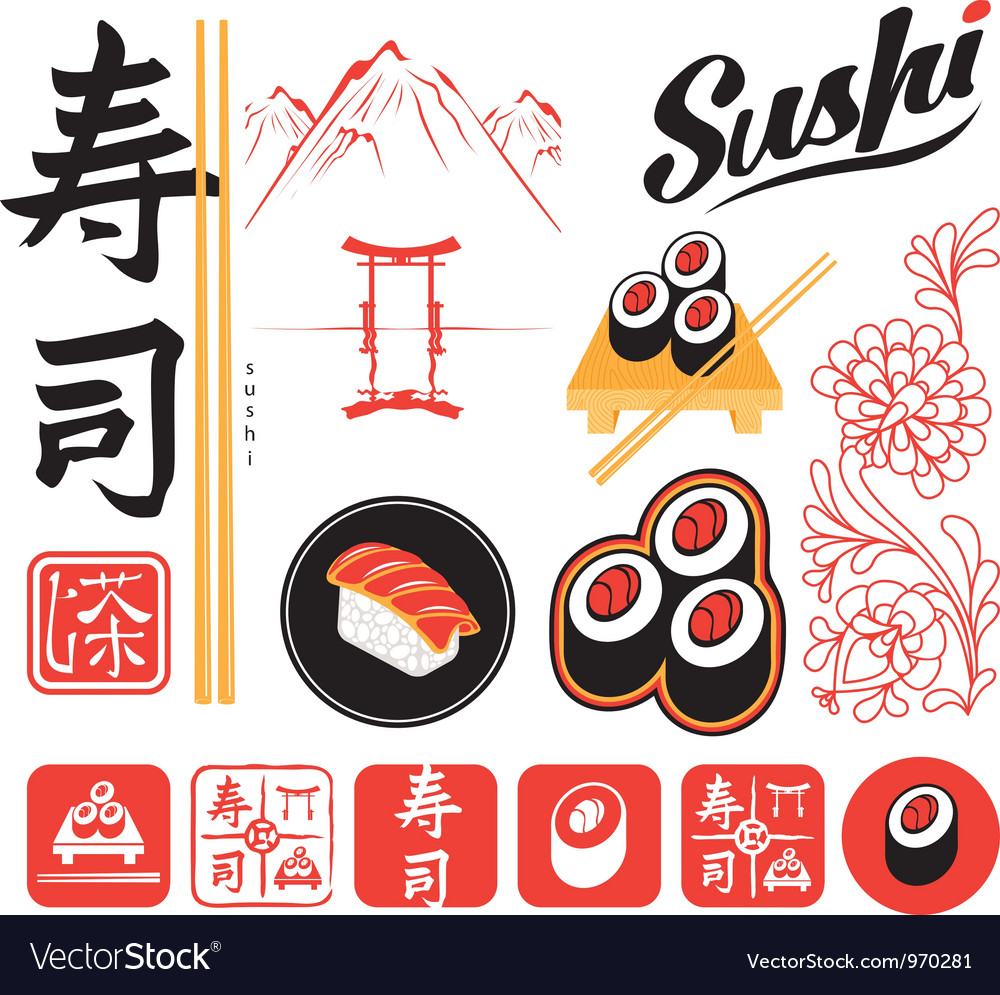 Set sushi vector | Price: 3 Credit (USD $3)