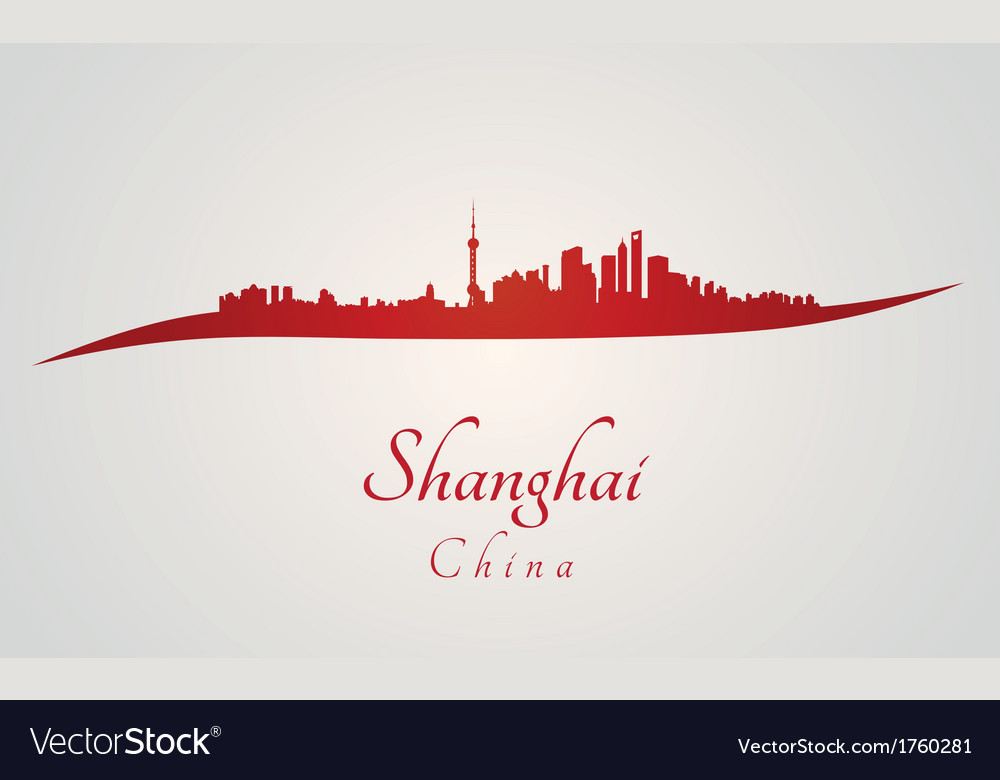 Shanghai skyline in red vector | Price: 1 Credit (USD $1)