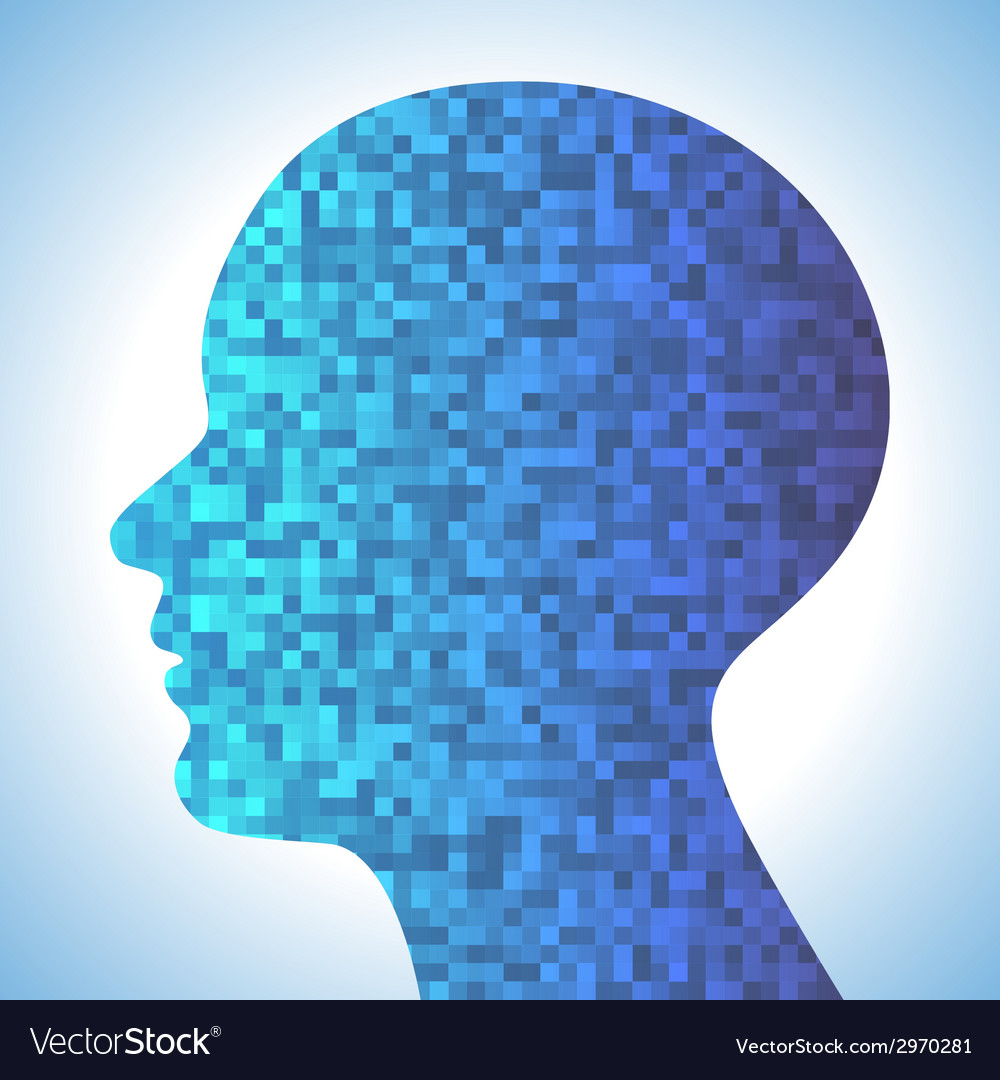 Technology blue background with pixeated profile vector | Price: 1 Credit (USD $1)