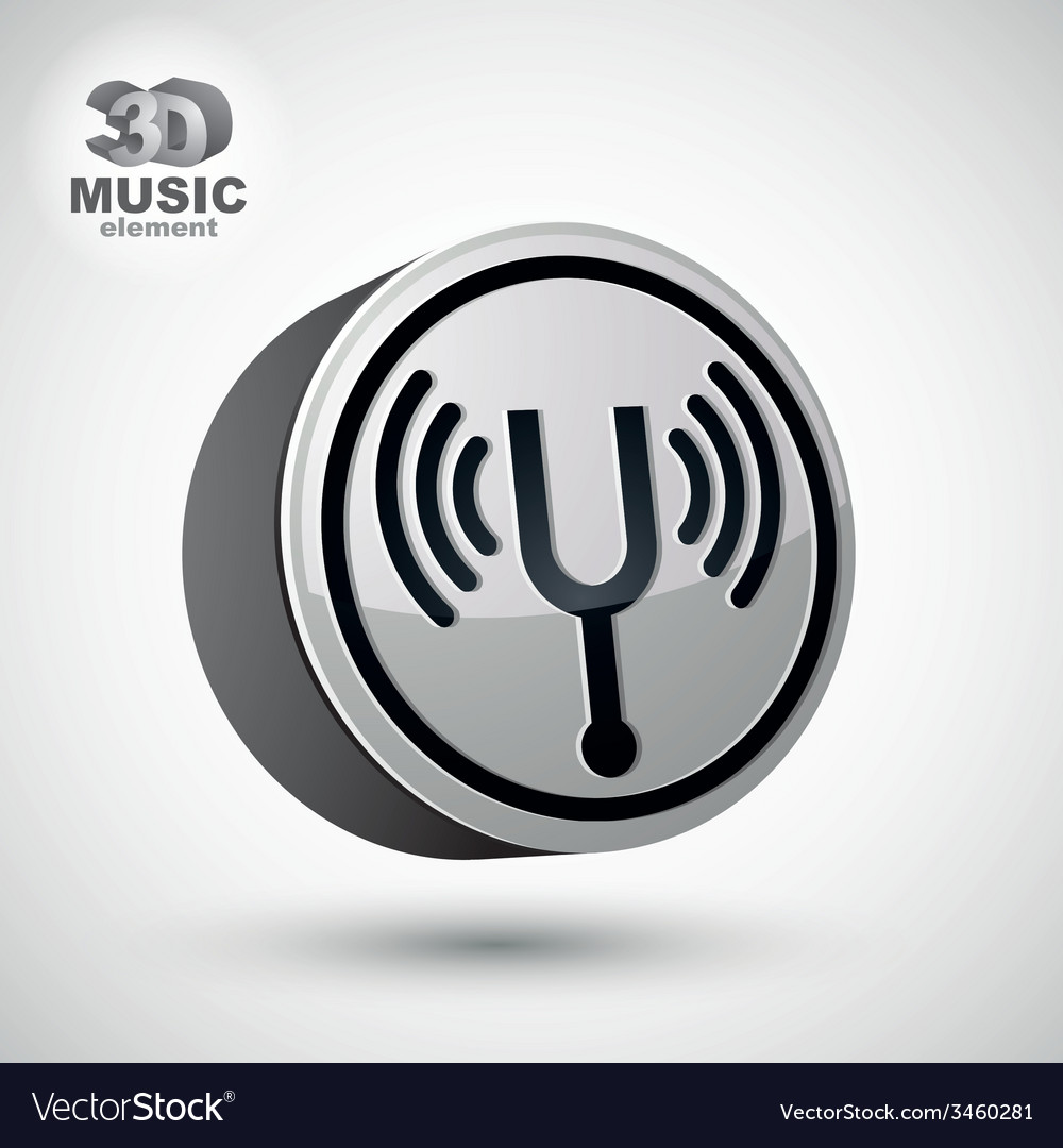 Tuning fork icon isolated 3d music theme design e vector | Price: 1 Credit (USD $1)
