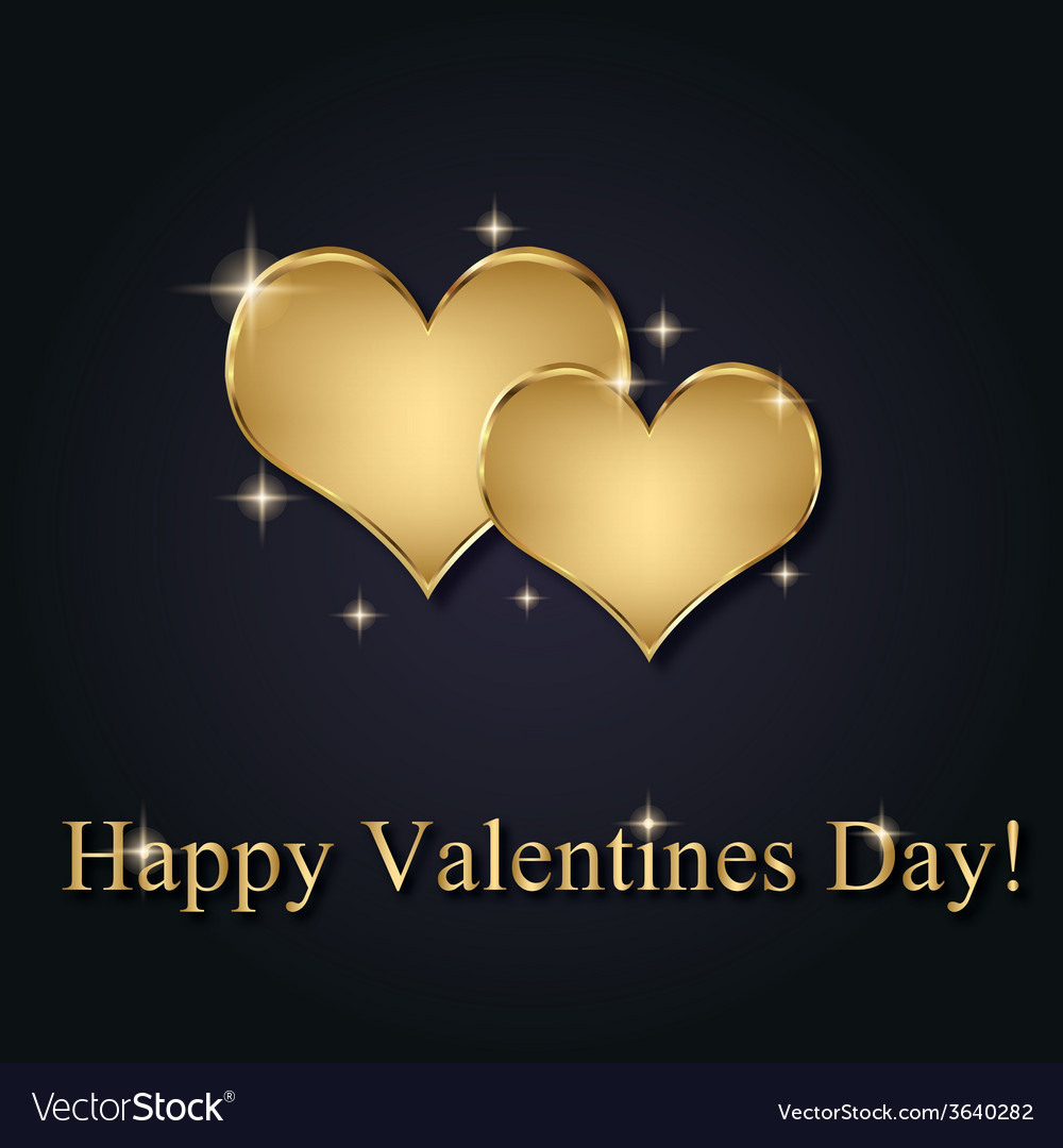 Elegant golden valentine hearts vector | Price: 1 Credit (USD $1)