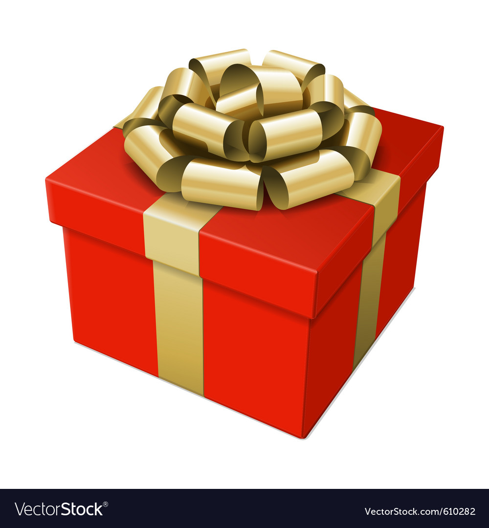 Gift box with gold bow vector | Price: 1 Credit (USD $1)