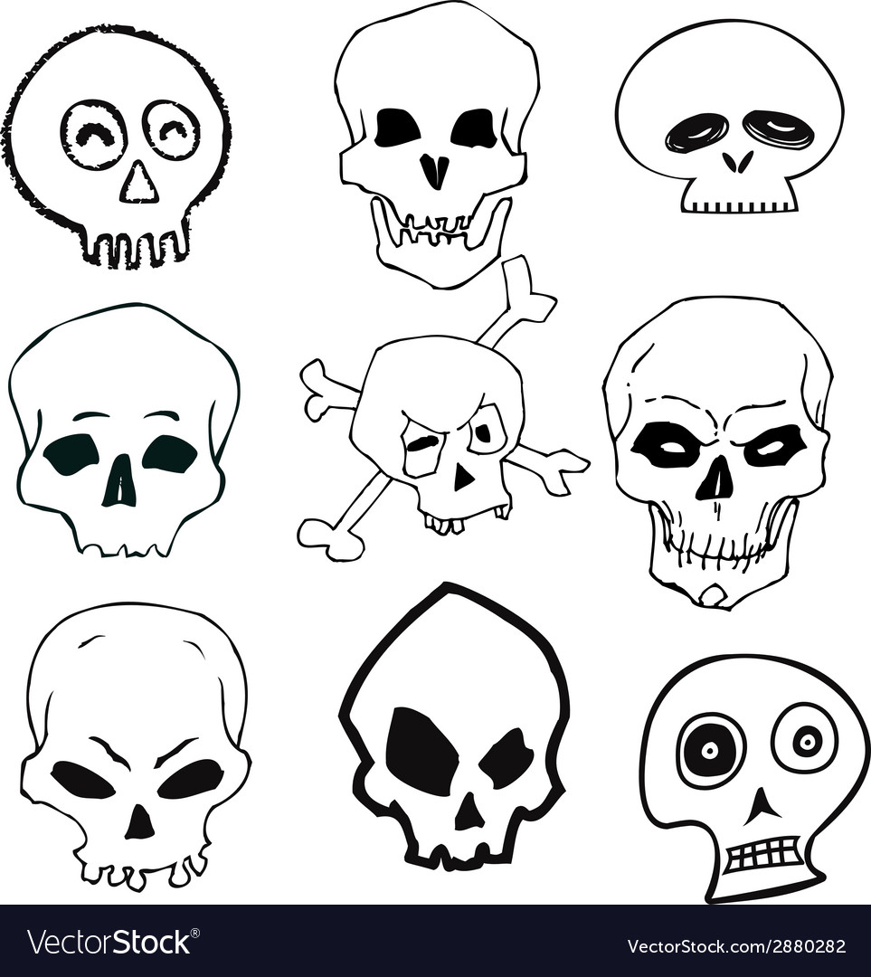 Hand drawn skull set vector | Price: 1 Credit (USD $1)