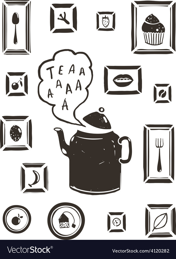 Kitchen drinking tea teapot and cooking art frames vector | Price: 1 Credit (USD $1)