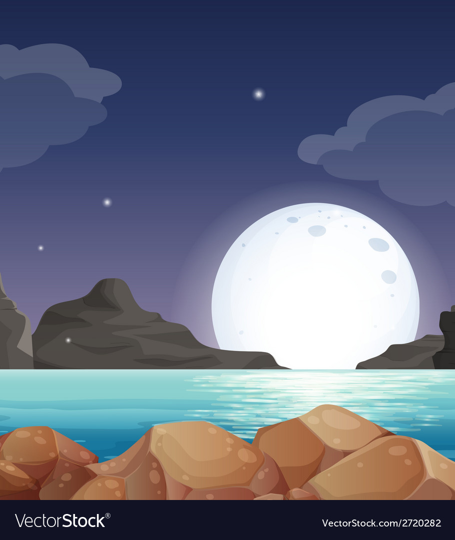 Moon landscape vector | Price: 1 Credit (USD $1)