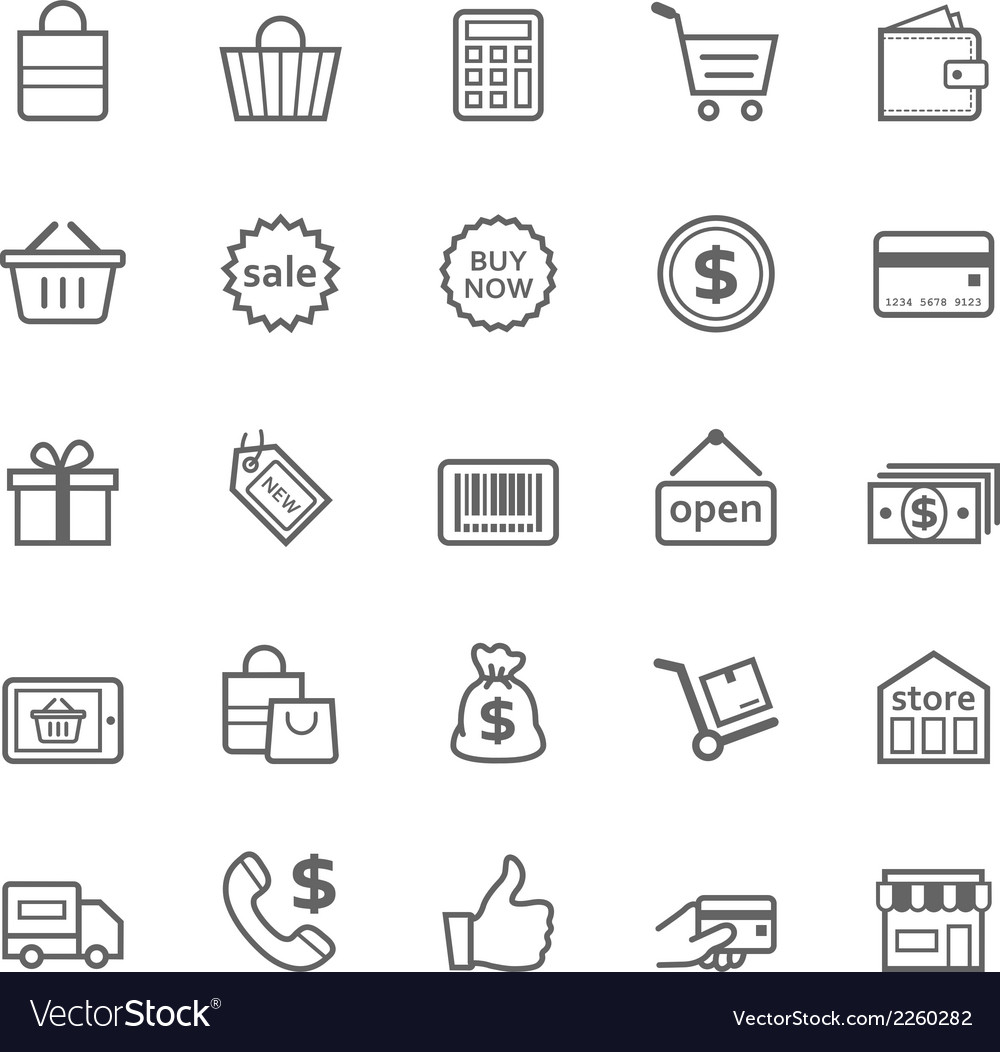 Set of outline stroke shopping icon vector | Price: 1 Credit (USD $1)