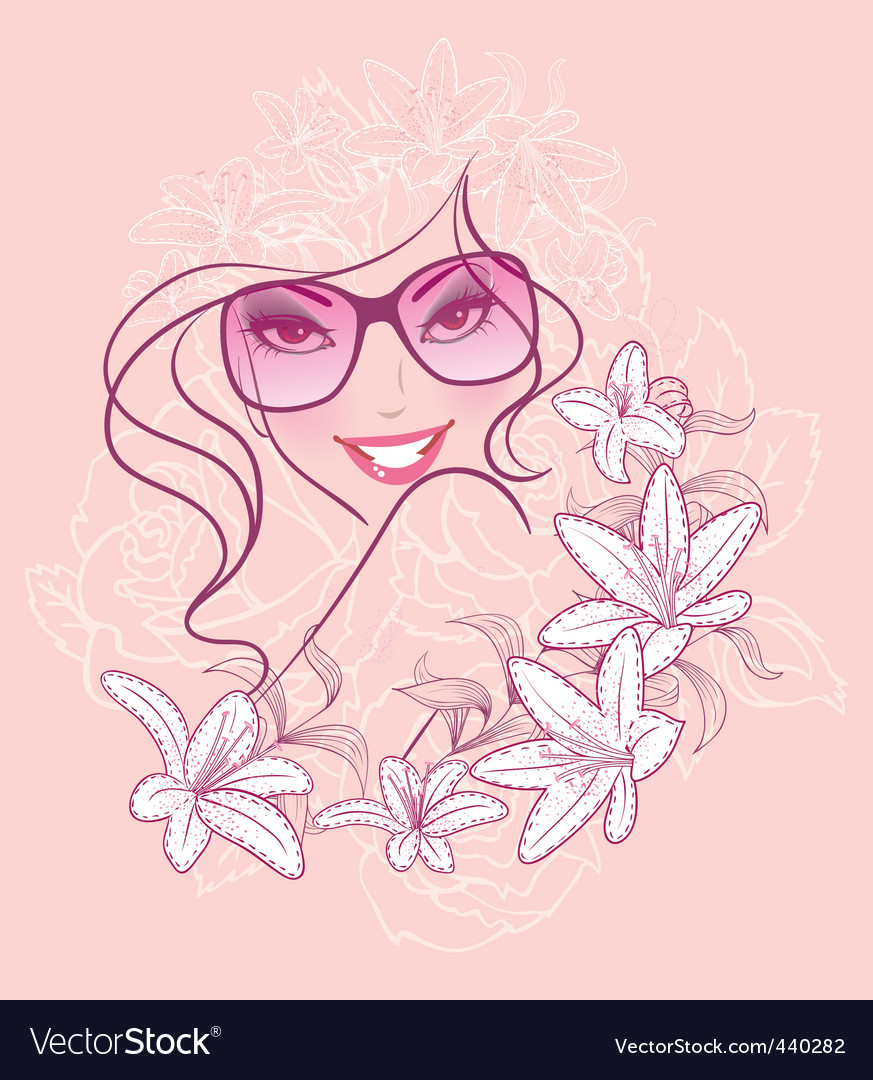 Women in sunglasses floral background vector   Price: 1 Credit (USD $1)