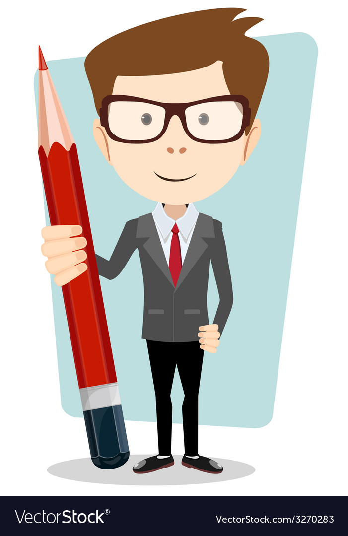 Businessman in jacket with a big red pencil vector | Price: 1 Credit (USD $1)
